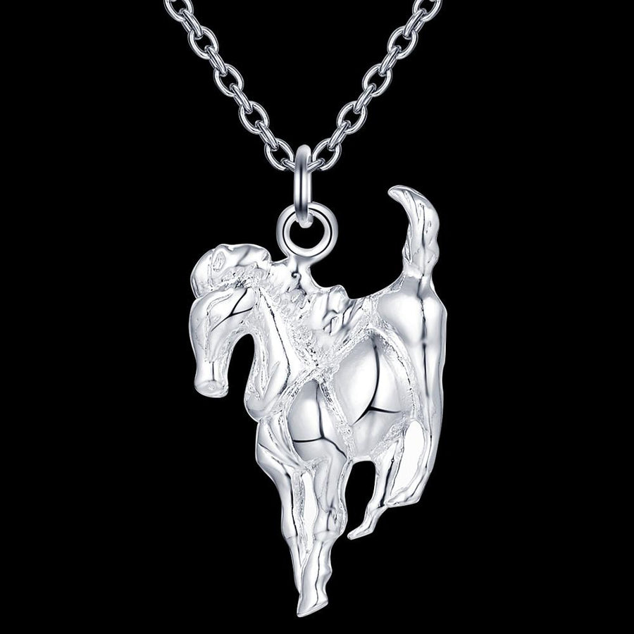 Shiny Silver Horse Pendant Necklace for Men and Women