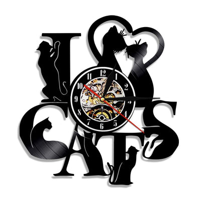 I Love Cats Vinyl Record Wall Clocks