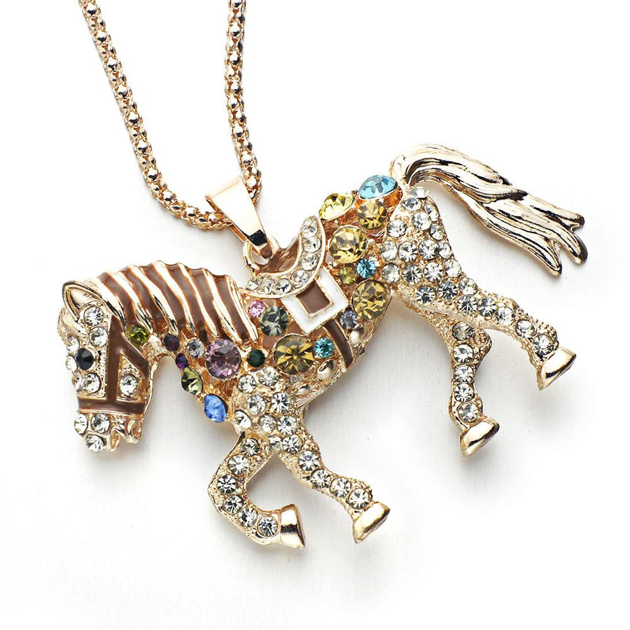 18K Gold Horse with Colorful Crystals Pendant Necklace