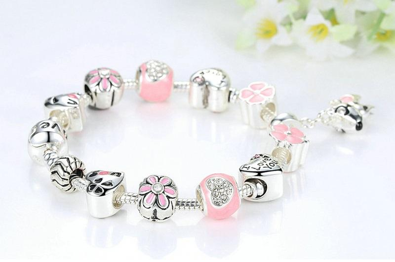 """I Love You"" Dog Heart Flower Charms Bracelets for Women"