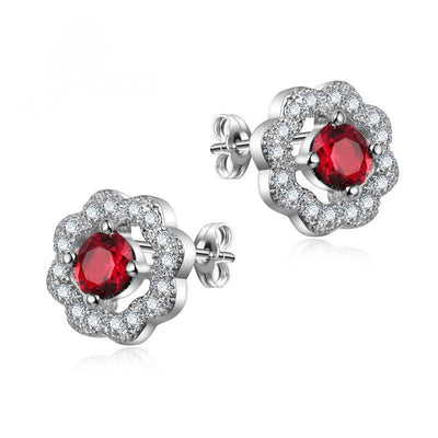 Classy Silver Stud Earrings with Cubic Zirconia Stones for Women