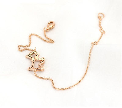 Crystal Studded Golden Dog Bracelet for Women