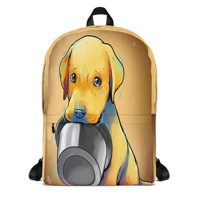 Hungry Puppy With Food Bowl - Laptop Backpack