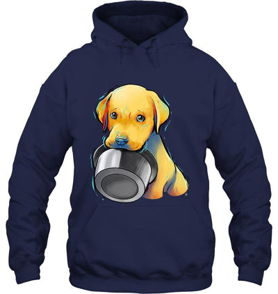 Cute and Beautiful Labrador Puppy Holding Food Bowl Hoodie - DogBlabShop