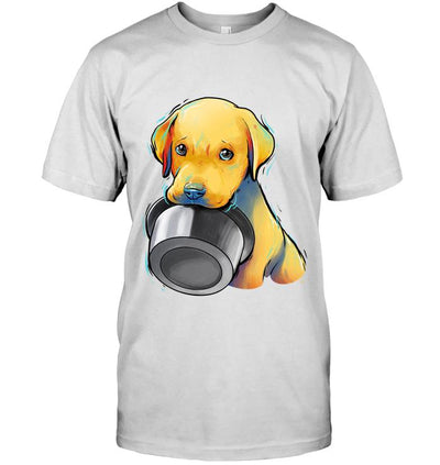 Cute and Beautiful Labrador Puppy Holding Food Bowl T-Shirt - DogBlabShop