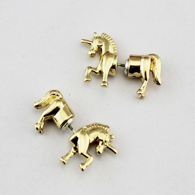 Cute Unicorn Stud Earrings in Gold for Women