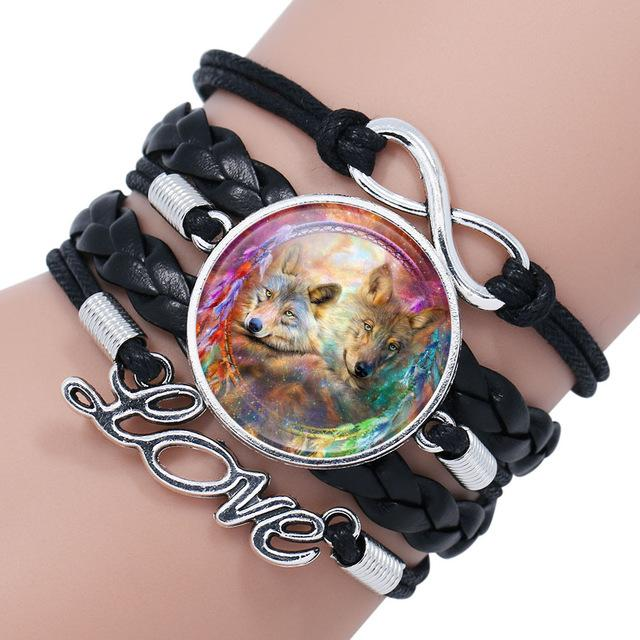 Wolf Glass Dome Charm Bracelets for Men