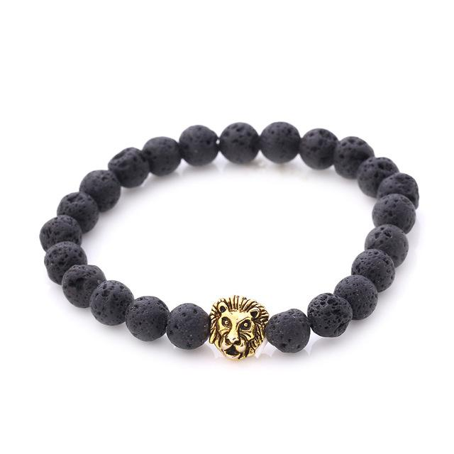 Vintage Buddha Stoned Bracelet with Lion Head Charm for Men and Women