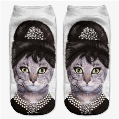 3D Cats and Dogs Low Cut Socks for Women