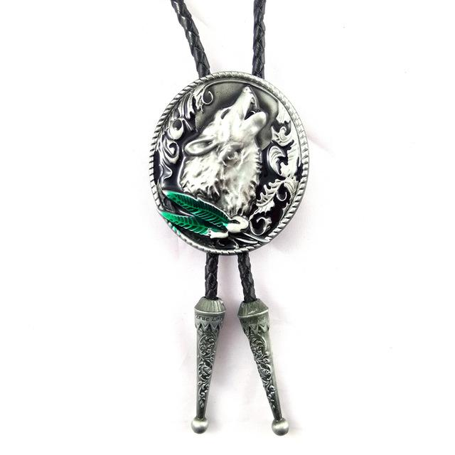 Howling Wolf Leather Bolo Ties for Men