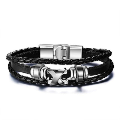 Black Leather Charm Bracelet for Men - DogBlabShop