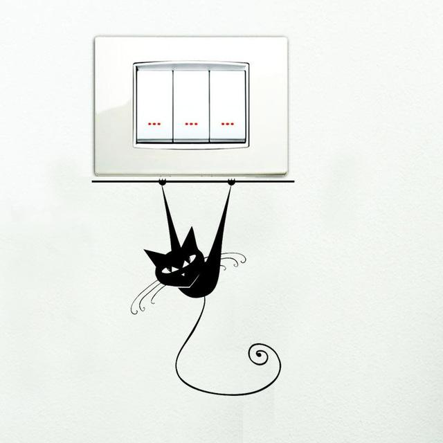 Funny Siamese Cat On Branch Vinyl Wall Sticker