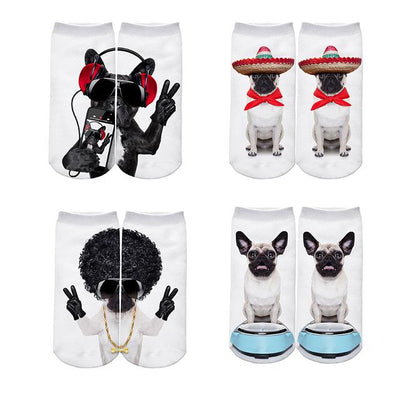 4 Pairs of 3D Printed Dog Socks for Women - DogBlabShop