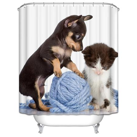 3D Puppy, Cat and Goldfish Shower Curtains
