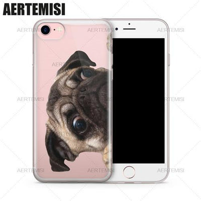 Cute  Clear Soft TPU Dog Case Phone Cover for iPhone 5 5s SE 6 6s 7 Plus