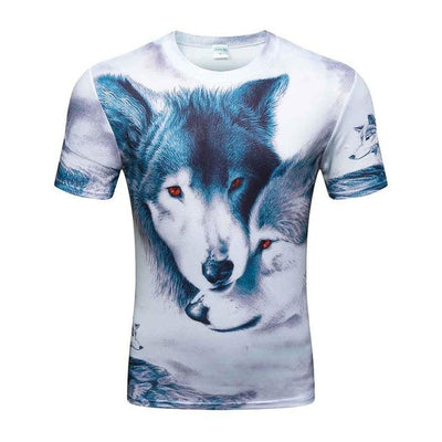 3D Printed 2 Blue Wolf-Dogs in White T-shirt for Men (Customizable)