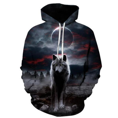 Fierce Dog-Wolf Hoodie Sweatshirt
