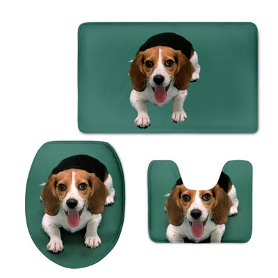 Beagle Printed Bath Mat, Rug and Toilet Seat Cover  Set (Customizable) - DogBlabShop