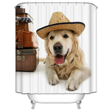 3D Puppy Cat And Goldfish Shower Curtains