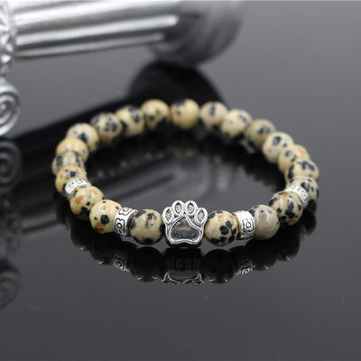 Assorted Mala Bead Bracelets with Paw Print Charm for Men and Women