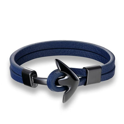 Minimalist Leather Bracelet with Anchor Charm for Men
