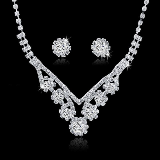 Crystal Tassel Necklace and Earrings Set for Women