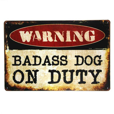 Dog WARNING Metal Sign Decor For Garage,Shop, Bar, Living Room Walls - DogBlabShop
