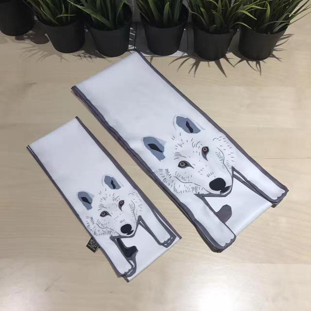 White Wolf-Dog Scarves for Women and Kids