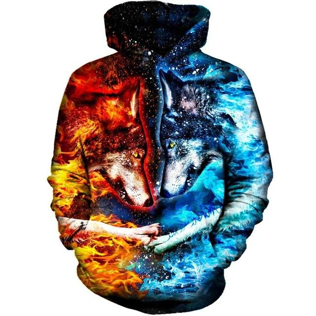 Fire and Ice Wolf-Dogs 3D Hoodie Sweatshirt