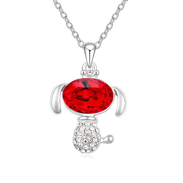 Beautiful Crystal Dog Pendant Necklaces for Kids