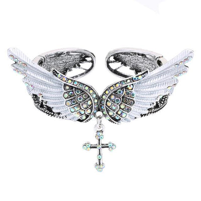 Angelic Wings & Cross Cuff Bracelets for Women