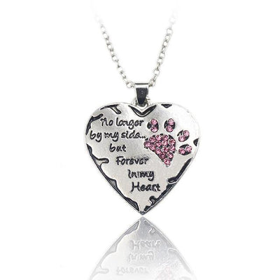 """No Longer By My Side, But Forever In My Heart"" Heart Shape Pendant Necklace With Cute Paw Print - DogBlabShop"