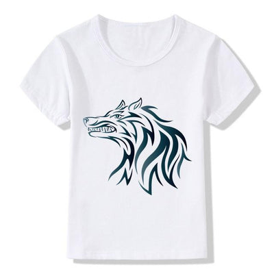 Black and White Wolf-Dog T-shirts for Kids