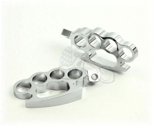 Chrome Brass Knuckle Footpeg Set Pair Male Mount Harley Chopper Bobber Custom XL