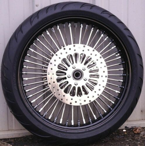 Black 21 3.5 52 Fat Spoke Mammoth Front Wheel Rim Tire Package 08-19 Touring ABS