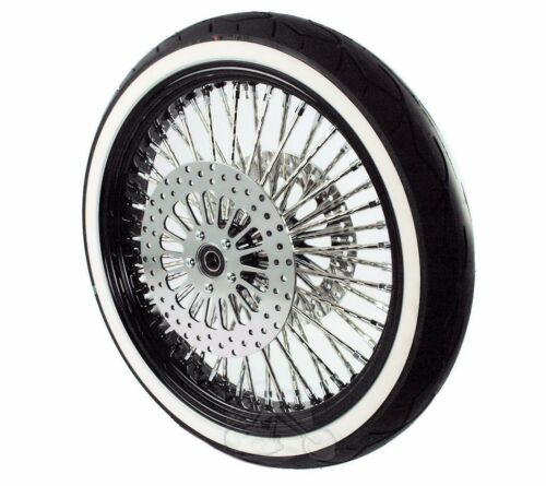 "Black 21"" x 3.5 52 Mammoth Diamond Spoke Front Wheel Tire Package Harley Touring"