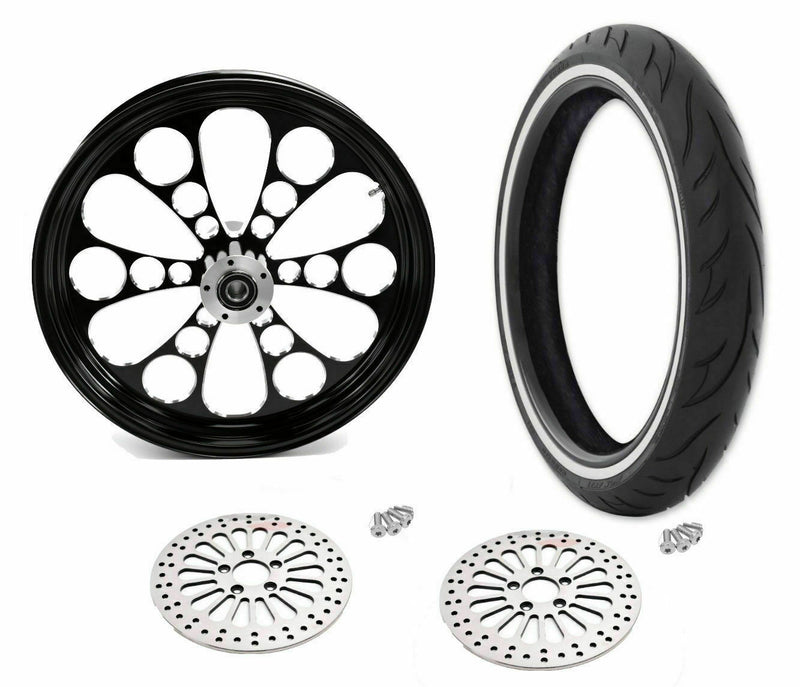 "Black Kool Kat 21"" 3.5"" Billet Front Wheel Rim WWW Tire Package Harley Touring"