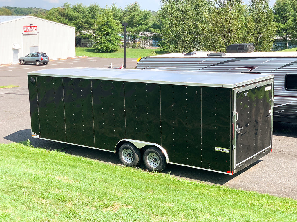 2020 Haulmark Passport V-Nose Enclosed Motorcycle Landscape Utility Black Trailer DLX-ACG PP8524T3-D 8.5'x24'