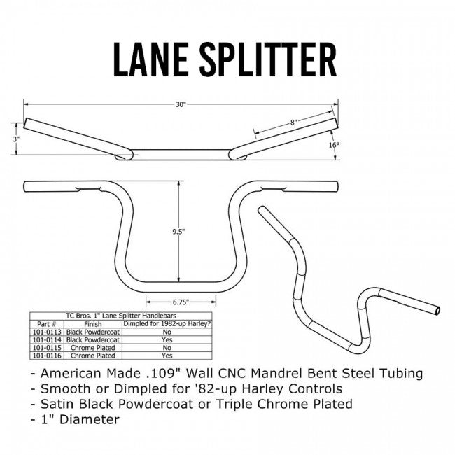 "TC Bros. 1"" Lane Splitter™ Handlebars - Black"