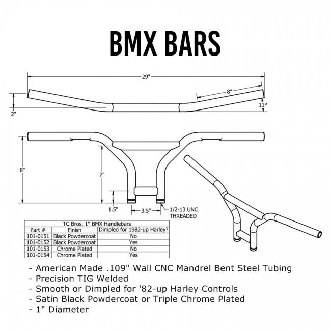 "TC Bros. 1"" BMX Handlebars - Black"