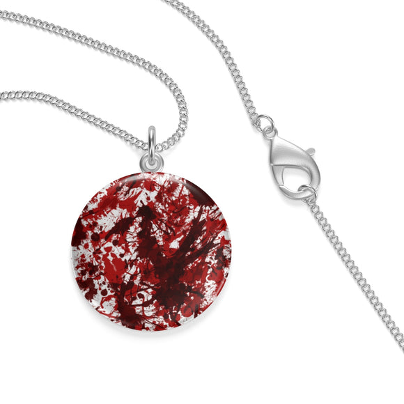 Silver Plated Blood Splatter Lotus Coin Pendant ¾