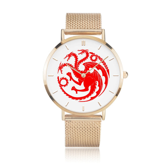 Game of Thrones TARGARYEN Crest Dragons Red, White & Gold Steel Strap Water-resistance Quartz Watch :: Mental XS Online
