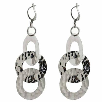 CAVAS Women's 925 Silver Dangle Earrings with 3 Hammered Circles - Italian Couture Jewelry :: Mental XS Online