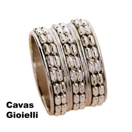 CAVAS Men's 925 Silver 15mm Band Ring with Central Chain Insert - Italian Couture Jewelry :: Mental XS Online