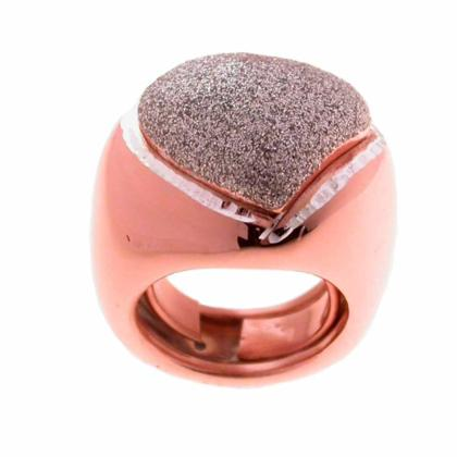CAVAS Women's Rose Gold-Plated 925 Silver Large Heart Ring with Glitter Enamel - Italian Couture Jewelry :: Mental XS Online