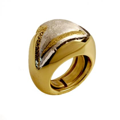 CAVAS Men's Gold-Plated 925 Silver Large Ring with Gold and Satin Finish - Italian Couture Jewelry :: Mental XS Online