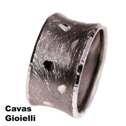 CAVAS Unisex 925 Silver 12mm Wide Band Ring with Satin & Diamond Pattern  - Italian Couture Jewelry :: Mental XS Online