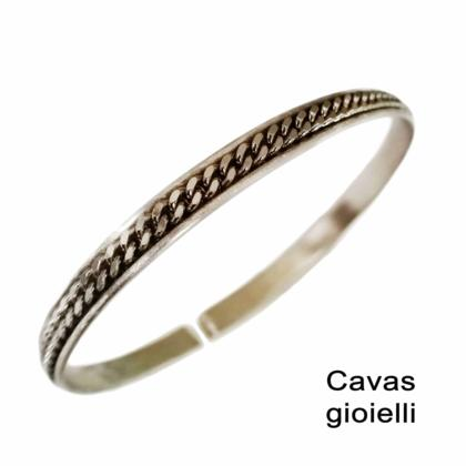 CAVAS Men's 925 Silver Cuff Bracelet with Central Chain Insert - Italian Couture Jewelry :: Mental XS Online