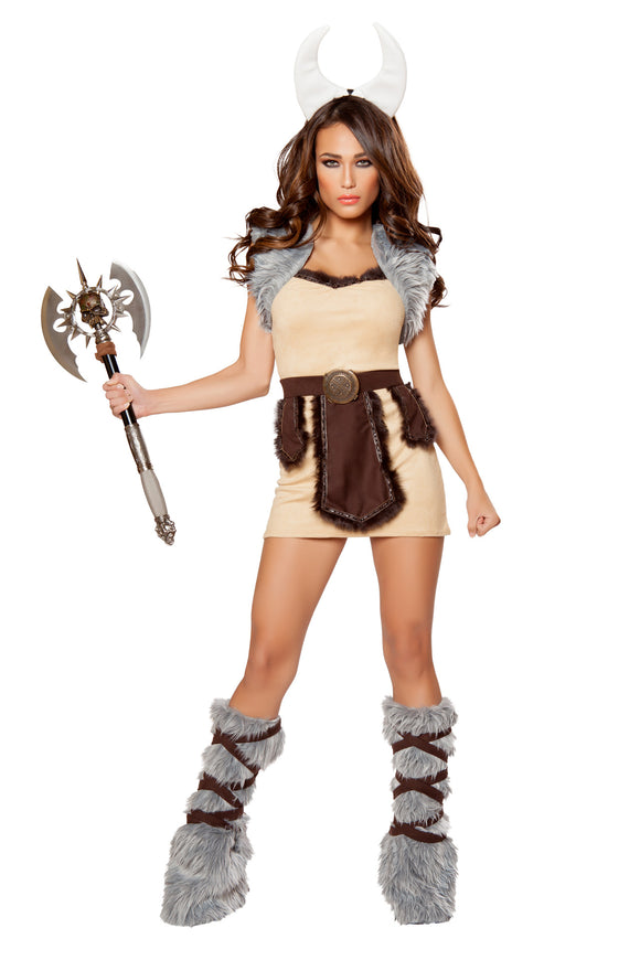 Female Vicious Viking Beige, Brown & Grey 4pc Dress - Roma Costume, Inc. :: Mental XS Online