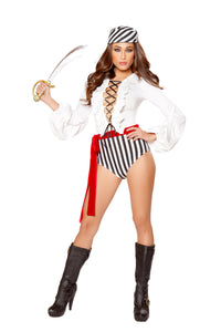 Female Pirate Black, White & Red 3pc Bodysuit - Roma Costume, Inc. :: Mental XS Online